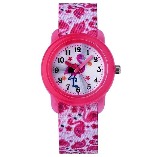 Reloj para niños Reloj para niños Niña Reloj Zeiger para niñas Reloj para niña Reloj pedagógico Hora de Lectura fácil Nylon KW122 Flamingo Pink: Amazon.es: ...