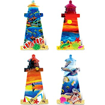 CoTa Global Colorful Tropical Lighthouses - 3D Designs - Summer Magnet (4pc Set) - Item #7583