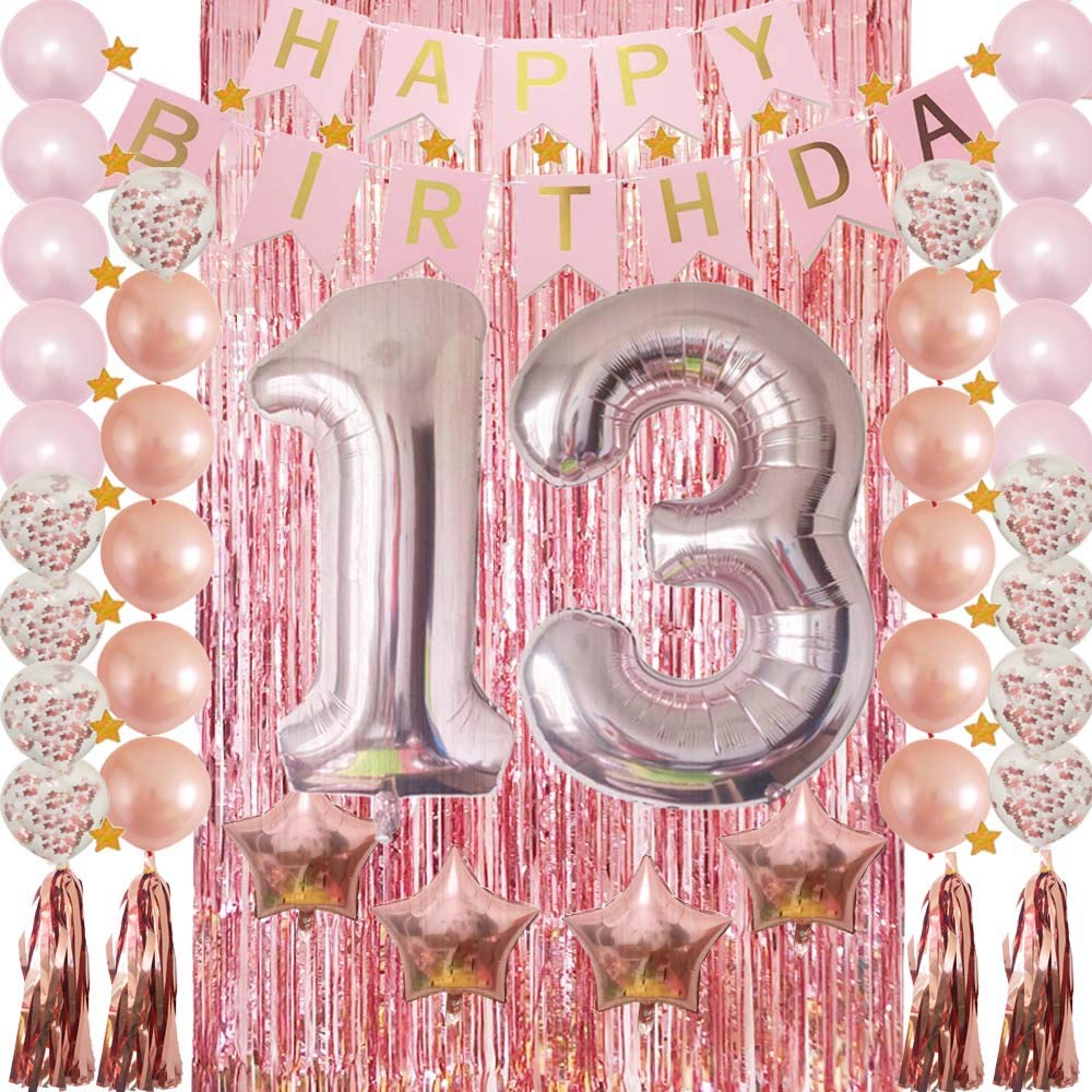 13th Birthday Decorations Rose Gold 13 Birthday Party Supplies for Girls-Confetti Latex Balloon,Foil Mylar Star,Tassel Garland,Tinsel Foil Fringe Curtains,Happy Birthday Banner as Photo Props,Gift