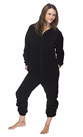 362c3a59f Cotton Sisters Adult Unisex Fleece Lounger - Black Onesie at Amazon ...