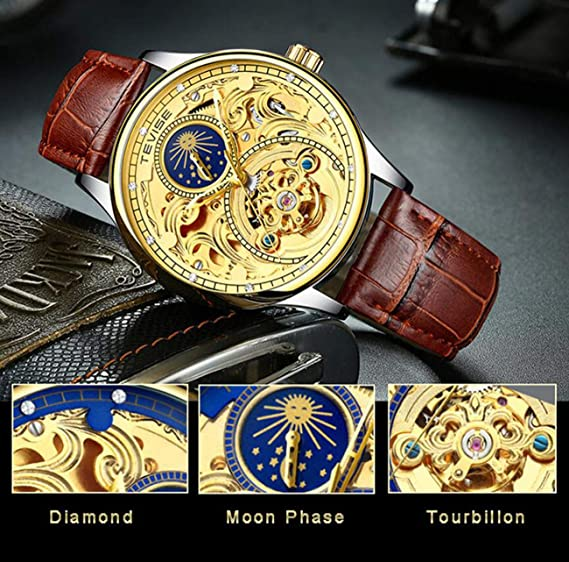 Amazon.com : TEVISE Watch Men Moon Phase Automatic Dial Watch Mechanical Tourbillon Waterproof Skeleton Dial Stainless Steel Strap Business Watch T820A, ...