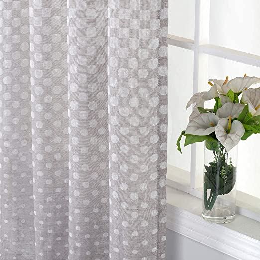 Amazon Com Everyday Celebration Burlap Semi Sheer Curtain Panels 84 Inch Jacquard Polka Dot Rod Pocket Curtains Window Treatment For Living Room Taupe 1 Panel Home Kitchen
