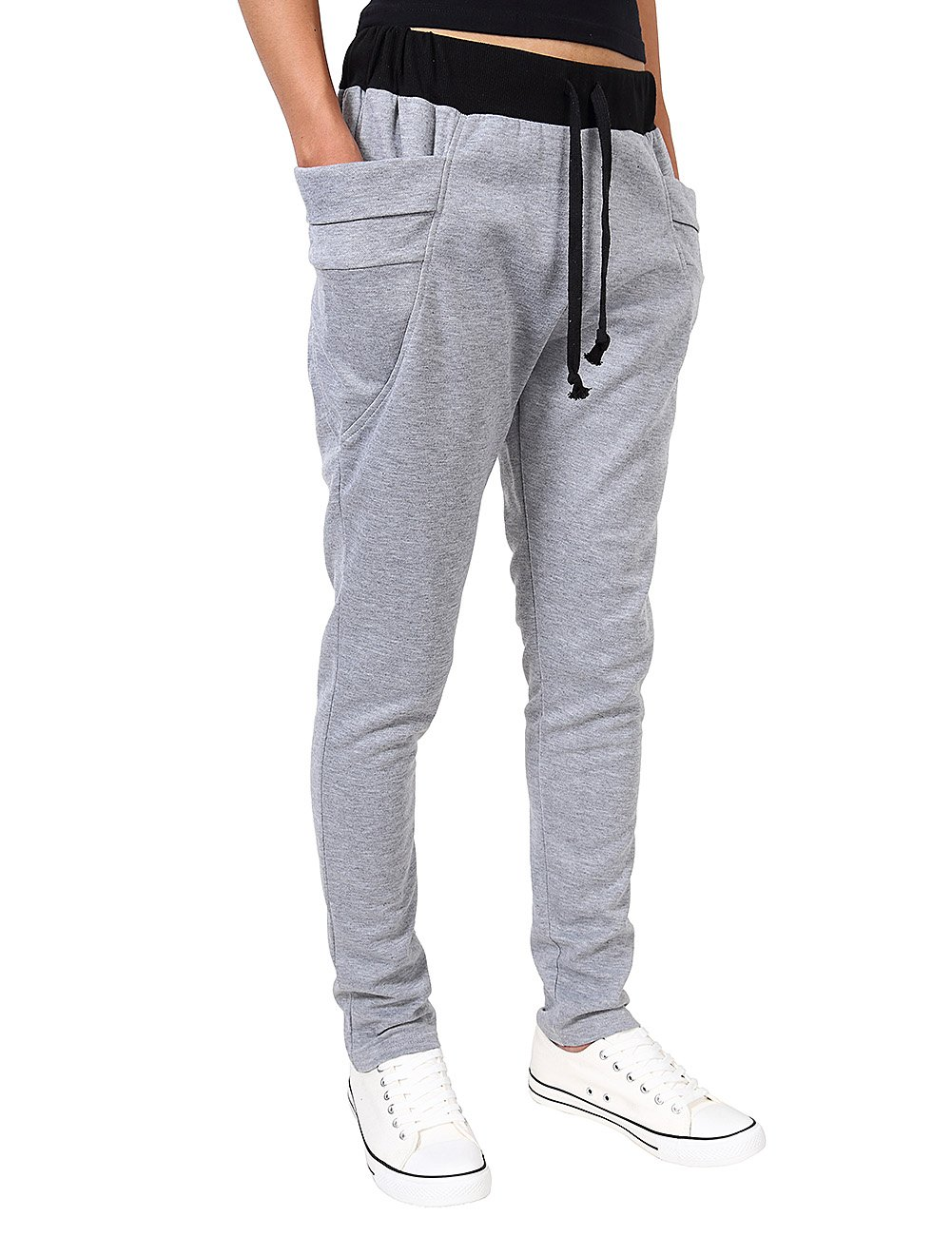 Yiwa Mens Elastic Waist Casual Pants with Side Pockets Light Gray S