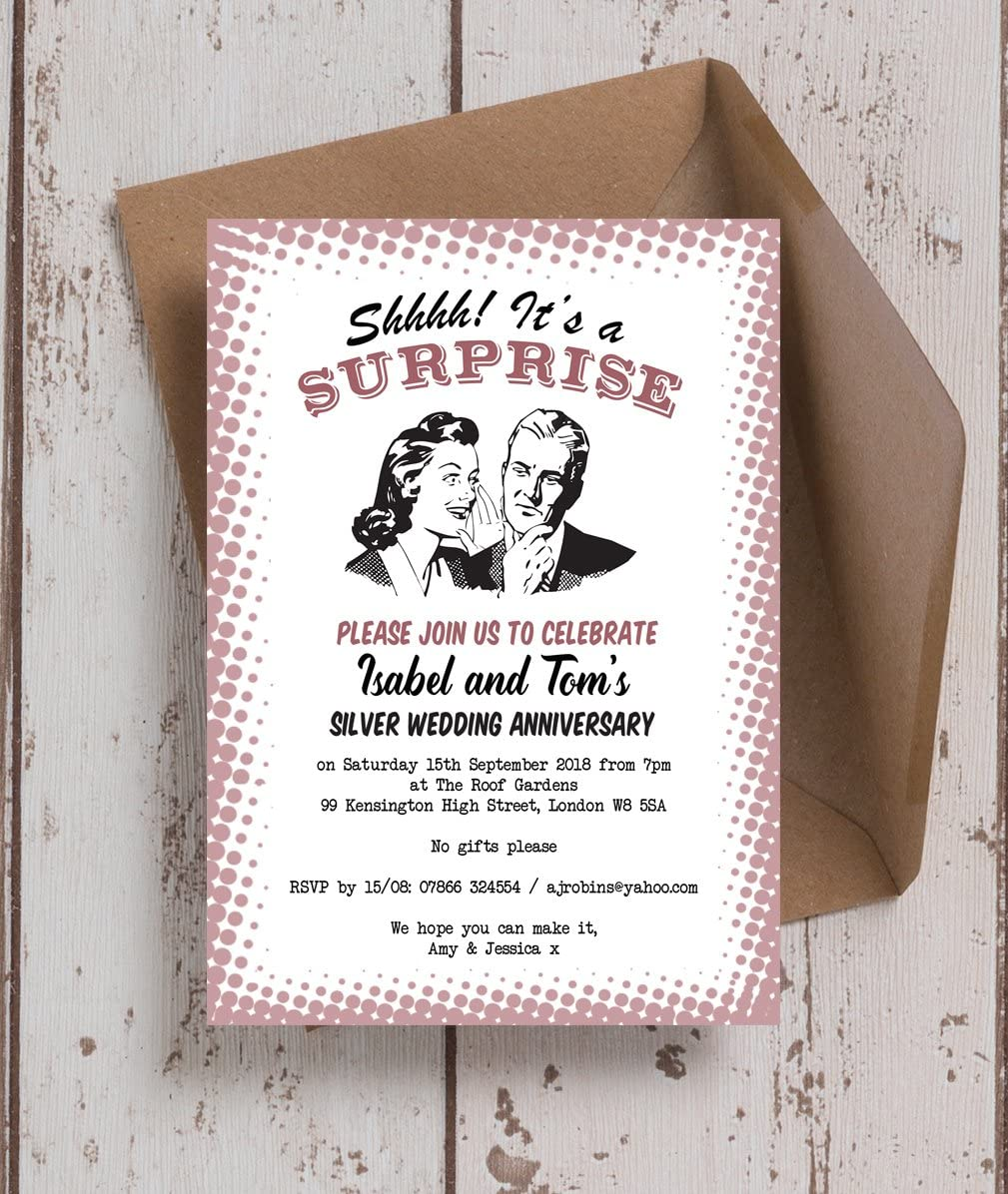 Personalised Retro Surprise Party Wedding Anniversary Invitations With Envelopes Pack Of 10 Amazon Co Uk Kitchen Home