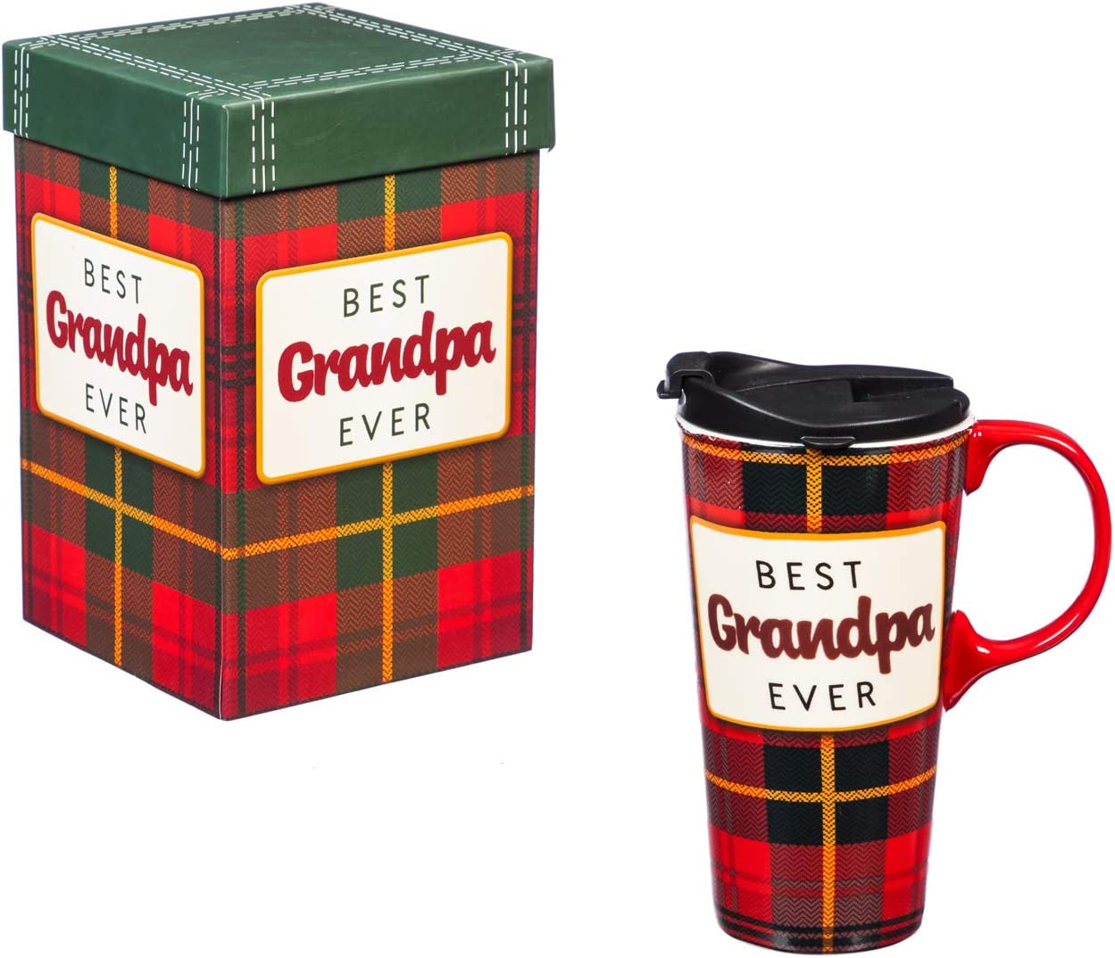 Cypress Home Beautiful Best Grandpa Ever Ceramic Travel Cup with Matching Box - 4 x 5 x 7 Inches Indoor/Outdoor home goods For Kitchens, Parties and Homes