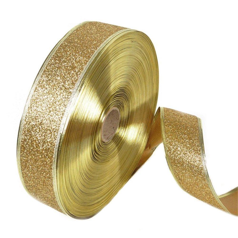 BleuMoo 200x5cm Glitter Christmas Xmas Satin Ribbon Party Accessories Gift (Gold)