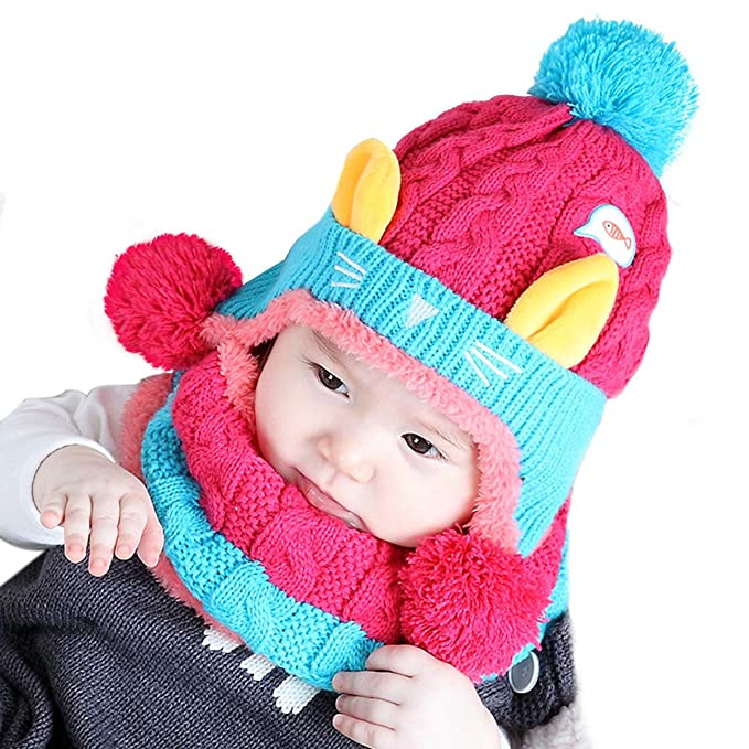 PAMASE Warm Knitted Fleece Baby Hat Neckerchief with Earflaps for Winter  Infant Toddler Beanies Boys Girls fda3787f9aa