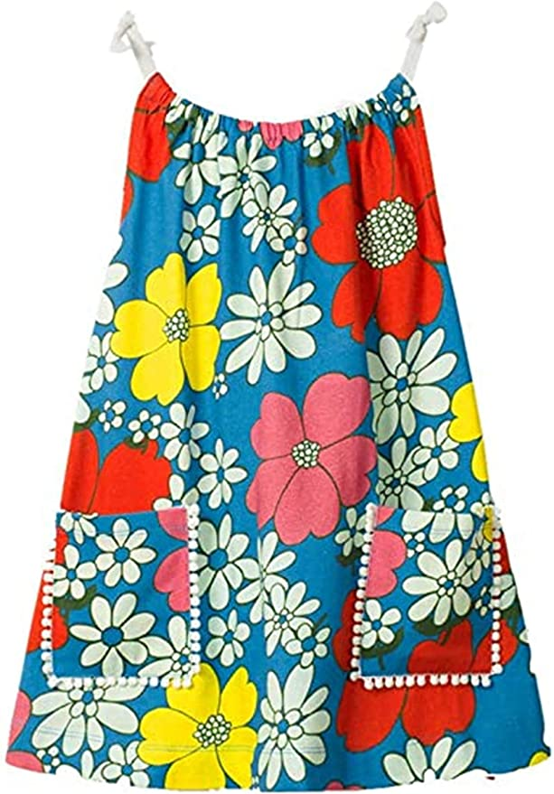 60s 70s Kids Costumes & Clothing Girls & Boys HILEELANG Little Girls Cotton Dress Sleeveless Casual Summer Sundress Flower Printed Jumper Skirt $9.99 AT vintagedancer.com