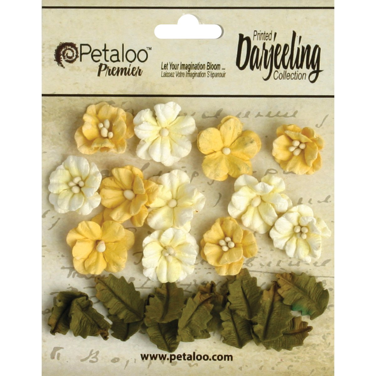 Petaloo Darjeeling Teastained Petite Flowers for Scrapbooking, 0.625-Inch and 0.875-Inch, Yellow, 24-Pack P1465-109