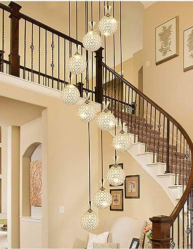 Luces colgantes de luces múltiples 10 Escalera giratoria Candelabros largos Lámparas colgantes modernas de cristal para el hogar Candelabro largo dorado para escaleras: Amazon.es: Iluminación