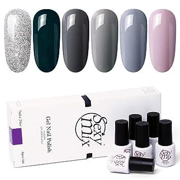 Sexy Mix Soak Off Uv Gel Nail Polish Set Nude Gray 6 Colors Tiny Bottles Popular Fall Colors Series