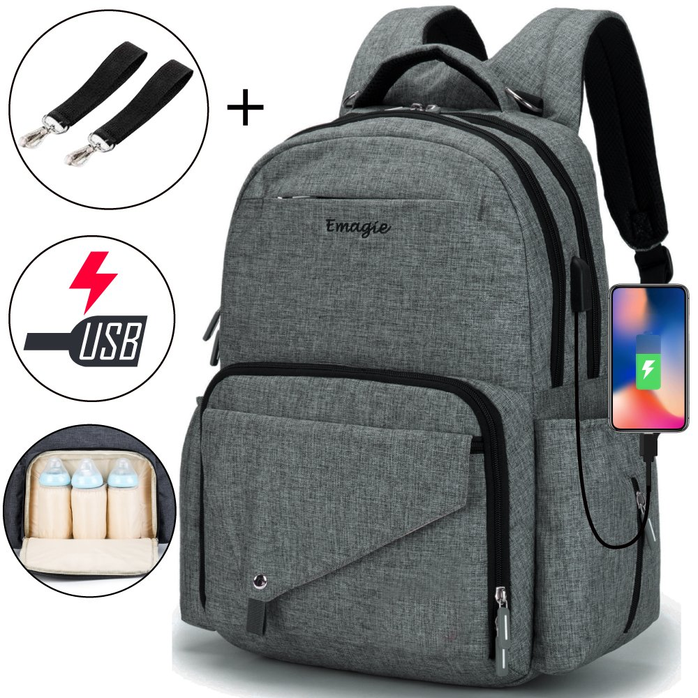 Diaper Bag Multi-Function Travel Backpack/Large Capacity Waterproof Nursing Bag for Baby Care/Mummy Maternity Baby Nappy Changing Bags with USB Charging Port for Moms & Dads(Light Grey) hongchan