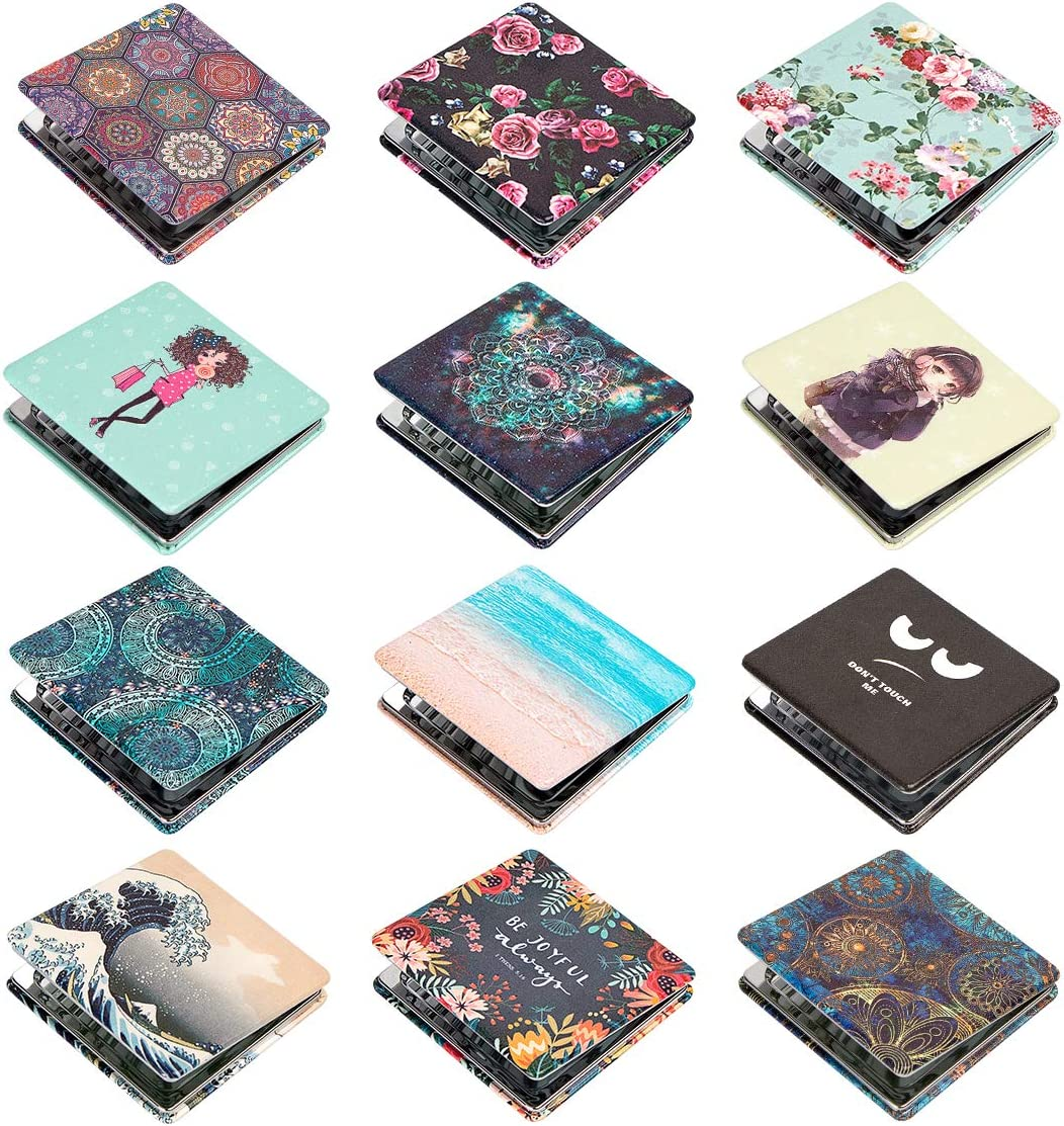Travel with Velvet Pouch and Paper Box Perfect for Purses Metal Compact Mirror-2-sided with 3X Magnifying Mirror and 1X Mirror