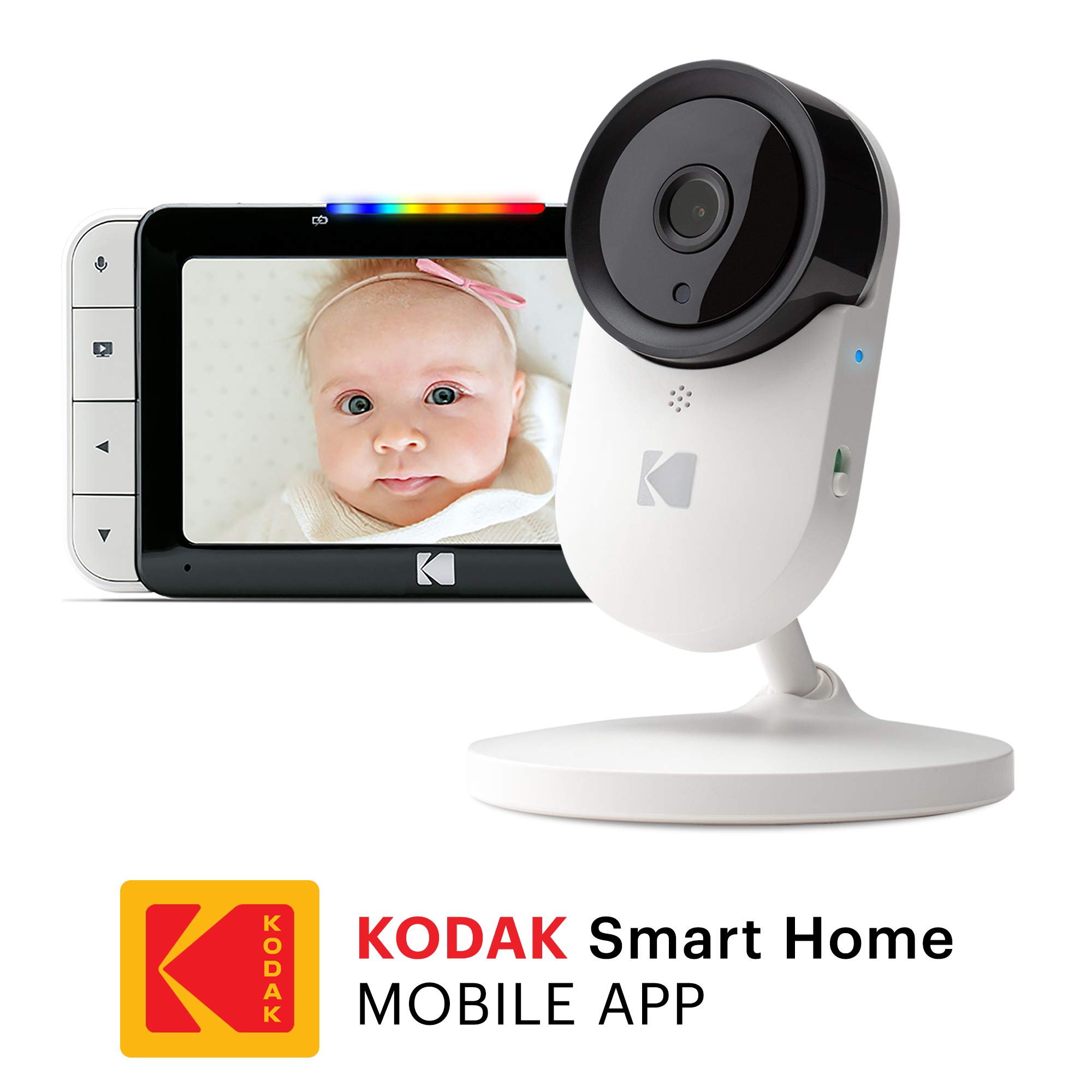 KODAK Cherish C520 Video Baby Monitor with Mobile App - 5'' HD Screen - Hi-res Baby Camera with Remote Zoom, Two-Way Audio, Night-Vision, Long Range - WiFi Indoor Camera Smart WiFi Baby Monitor