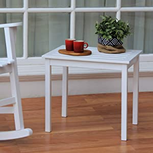 Cambridge Casual Solid Wood Bentley Side Table, Rectangular, White