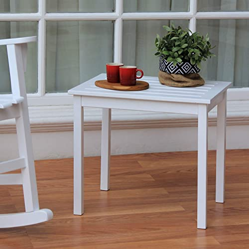 Cambridge Casual Solid Wood Alston Patio Square Side Table, White