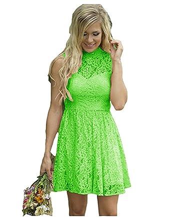 453fccdb5f8 Ruiyuhong High Neck Sleeveless Bright Green Evening Party Dress for Teens