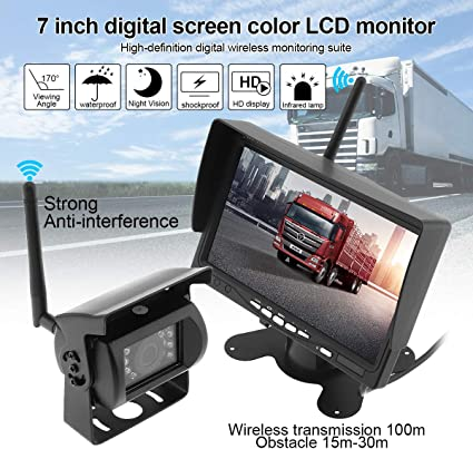 "Digital Wireless 7/"" TFT Monitor Backup Camera Rear View System For Truck RV Bus"