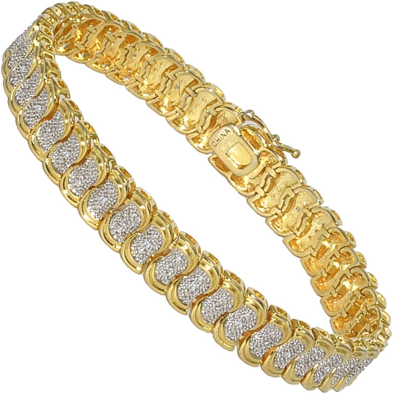 SHKA 18k Link Bracelet Tennis Bracelet CZ Bracelets with Sparking Wave Pave Crystal Wrap Cubic Zirconia Unisex Bracelet for Men and Women
