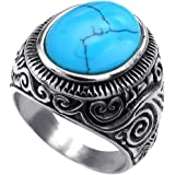 Men's Classic Vintage Turquoise Biker Stainless Steel Ring Band Silver Blue