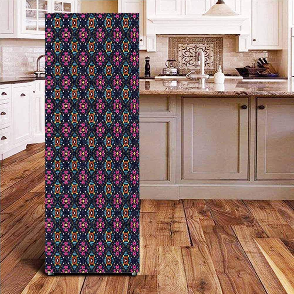 Angel-LJH Geometric 3D Door Fridge DIY Stickers,Design Arrows with Triangles and Vibrant Color Palette Tribal Influences Door Cover Refrigerator Stickers for Home Gift Souvenir,24x59