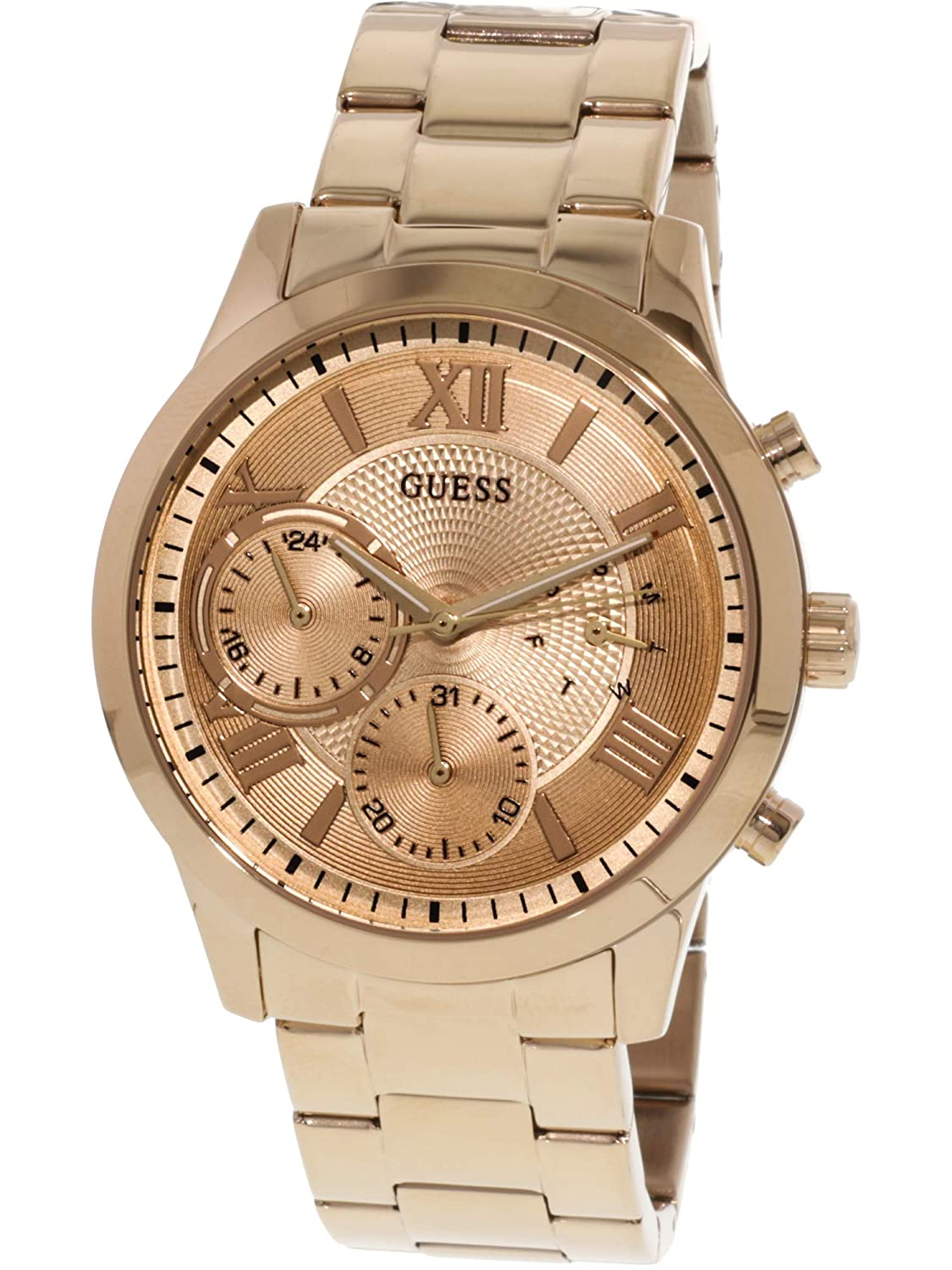 Amazon.com: Guess Solar Rose Gold Dial Stainless Steel Mens Watch W1070L3: Guess: Watches