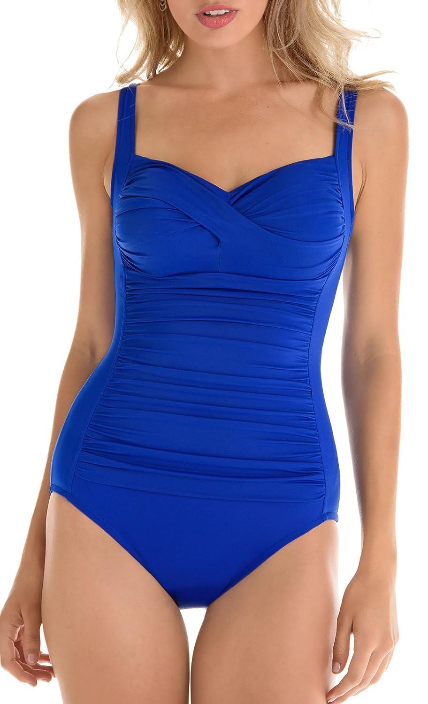 89c85b31e88 Trimshaper Womens Solid Averi One Piece Swimsuit (16) at Amazon Women's  Clothing store: