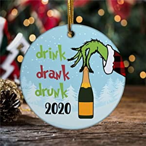 BYRON HOYLE Drink Drank Drunk Merry Christmas 2020 Ornament Funny Ornament with Wine Bottle COVID Ornament Quarantine Ornament Ready to Ship Present Pandemic Xmas Decor