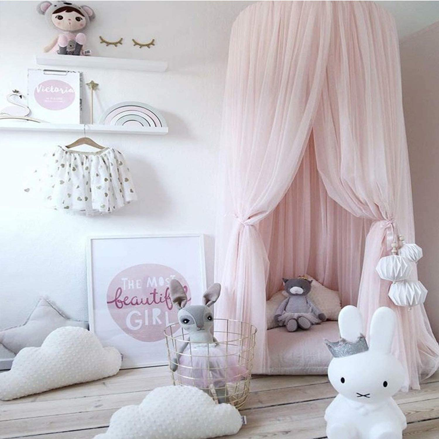 Hanging Kid Bedding Round Dome Bed Canopy Bedcover Mosquito Net Curtain Home Bed Crib Tent Hung Dome Two Layer of Net Yarn 240Cm,White