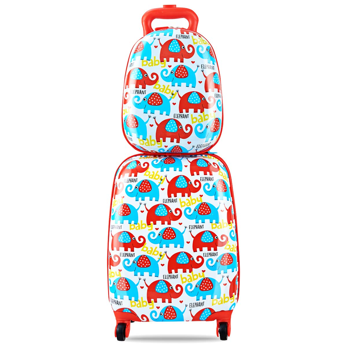 Goplus 2Pc 12'' 16'' Kids Carry On Luggage Set Upright Hard Side Hard Shell Suitcase Travel Trolley ABS (Elephant)