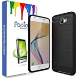 Popio Back Cover Shock Proof Rugged With Metallic Brush Finish For Samsung Galaxy On7 Prime (Carbon Black)