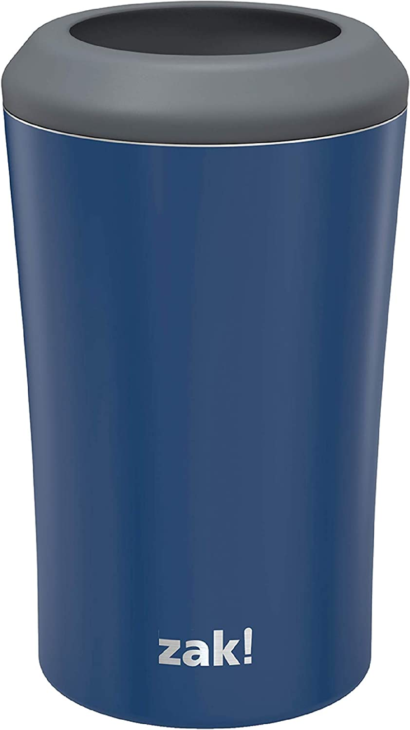 Zak Designs Durable 18/8 Stainless Steel with Vacuum Insulated Can and Bottle Cooler, Great for Cold Drinks Stay Cold in Pool and Party (12oz, Indigo)