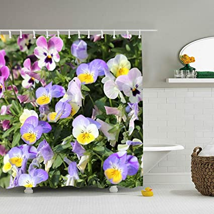 RianGo Great Pansy Shower Curtain With Hooks Mildew Resistant Bath Curtains For Bathroom