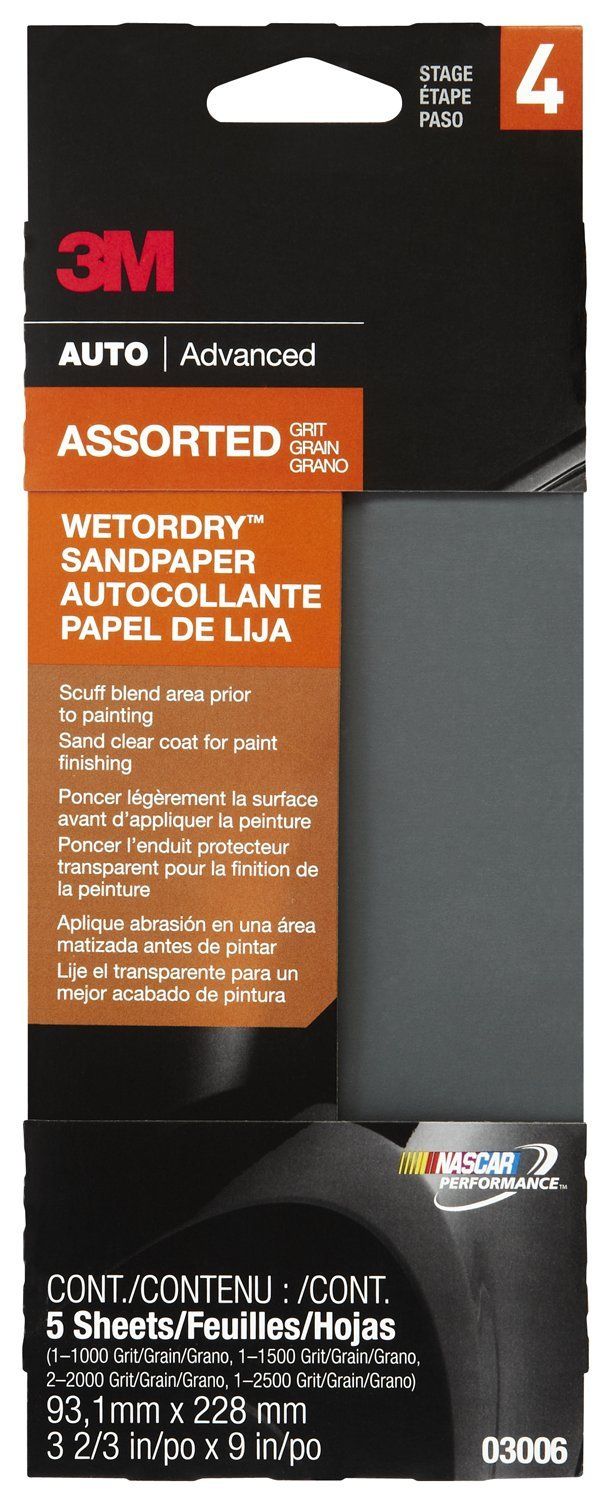 3M 03006 Wetordry 3-2/3'' x 9'' Automotive Sandpaper with Assorted Grit Sizes (Pack of 40)