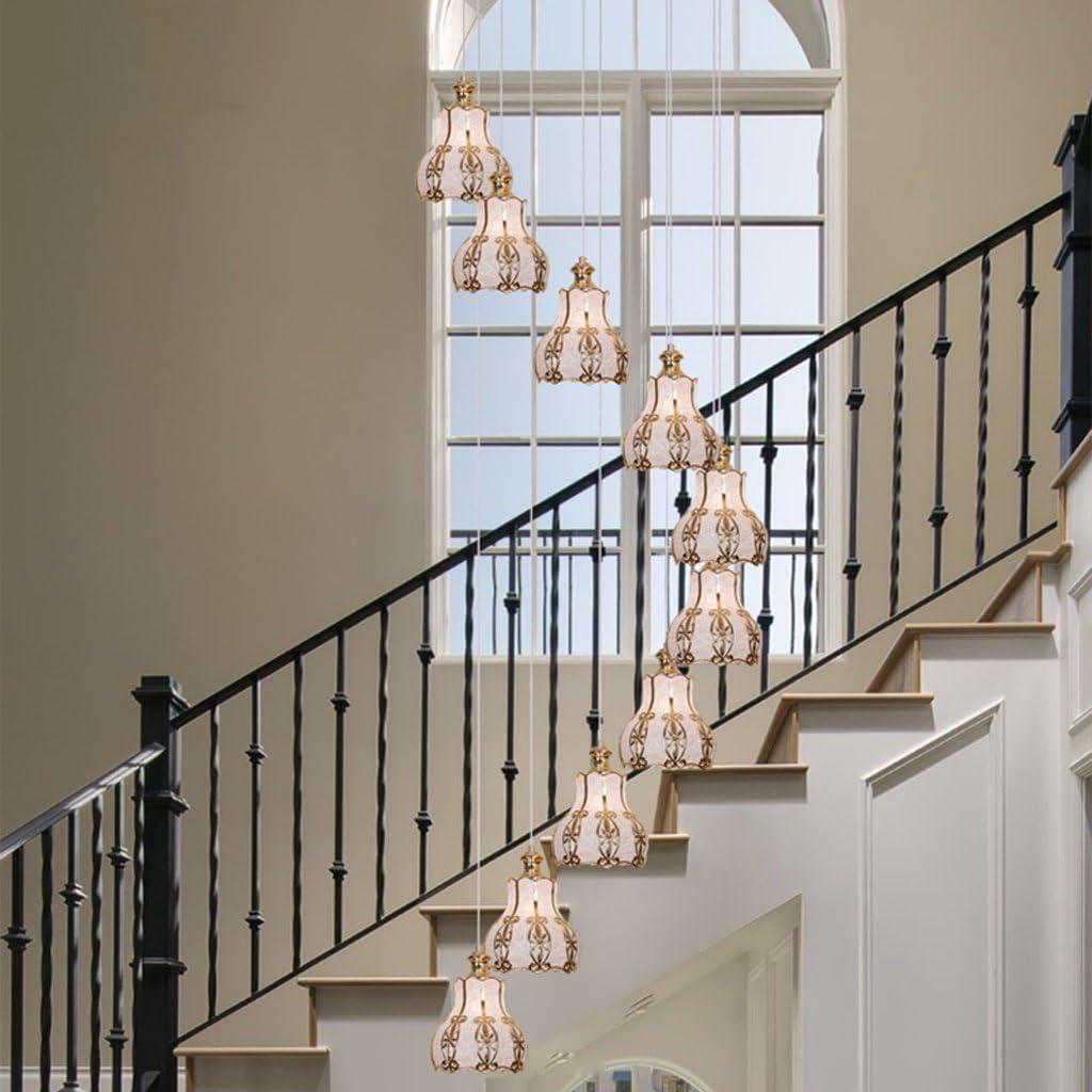 Luz de Techo Escalera de Escalera de Doble Nivel Retro Villa Escalera de Caracol lámpara de Cristal de Hierro Forjado Restaurante lámparas de luz de Escalera de China (Tamaño : 50 *