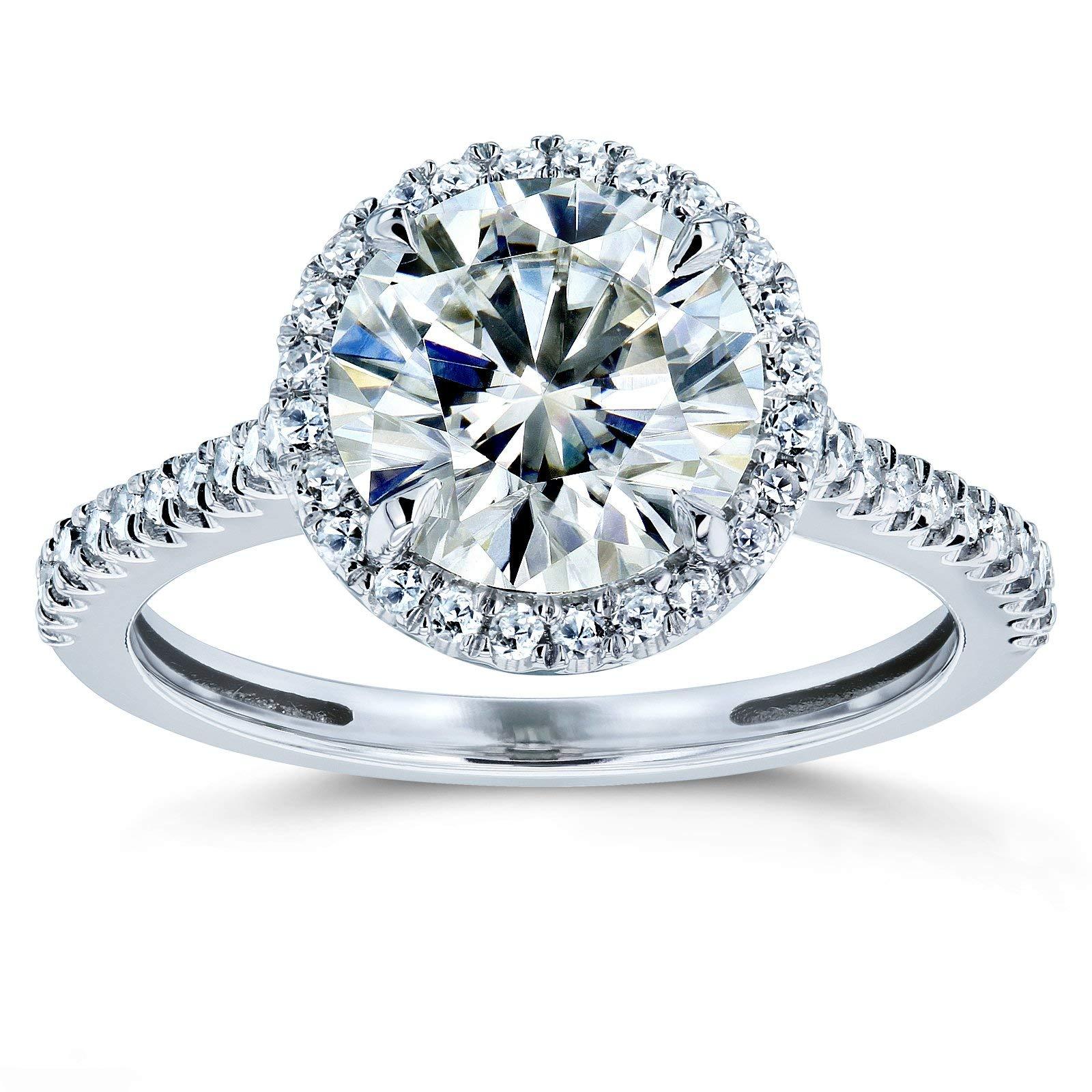 Round Brilliant Kobelli Moissanite Halo Engagement Ring 2 1/6 CTW 14k White Gold, 4.5