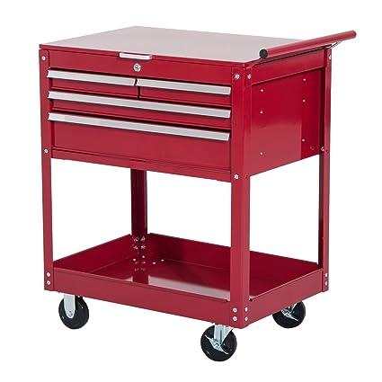 .com: homcom 4-drawer top storage rolling tool chest cart ...