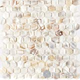 """Sample Size 4"""" x 4"""" Genuine Mother of Pearl Shell Tile Natural Varied 1"""" Hexagons for Backsplash and Bathroom Walls and Floors"""