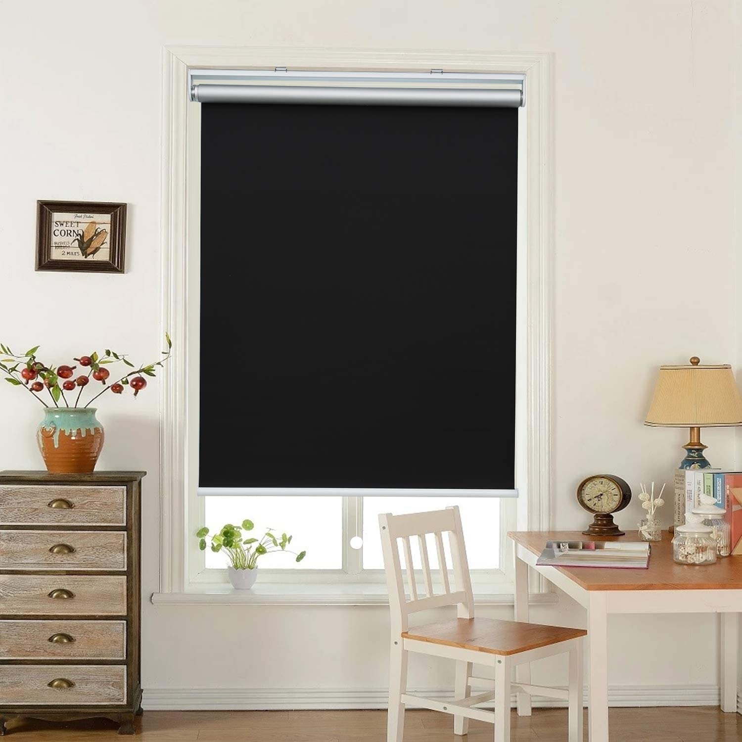 """HOMEDEMO Window Blinds and Shades Blackout Roller Shades Cordless and Room Darkening Blinds Black 23"""" W x 72"""" H for Windows, Bedroom, Home"""