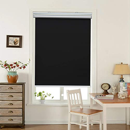 HOMEDEMO Window Blinds and Shades Blackout Roller Shades Cordless and Room Darkening Blinds Black 46 W x 72 H for Windows, Bedroom, Home