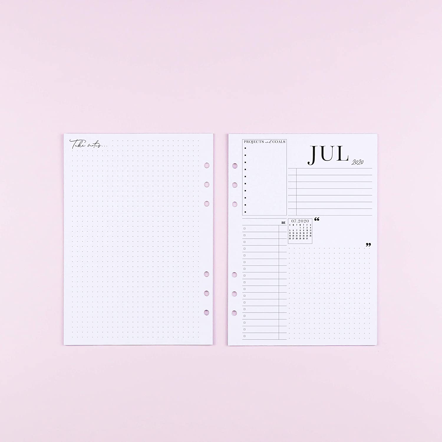 Size 5 Planner not included 5.83x8.27 inches 2020 Dated Weekly Refill Pages for A5 Size Ring Bound Systems Monthly Planner Inserts
