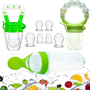 Gedebey Baby Food Feeder, Pacifier Fruit- Fresh Silicone Bottle Squeeze Spoon Frozen Fruit Pacifiers Nibbler Cover Newborn with Meshes Sizes for Baby Food Spoon (Green)