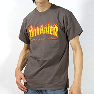 e5fb1eacd5ef Image Unavailable. Image not available for. Color  Thrasher THRASHER  short-sleeved T-shirt thr01tee L charcoal gray (Flame Logo)