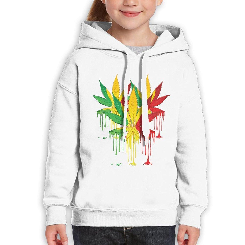 Teenager Pullover Hoodie Sweatshirt Weed Leaf Art coloeful Teens Hooded Boys Girls