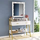 Tribesigns Vanity Table with Lighted Mirror, Makeup Vanity Desk with 9 Lights, 2 Drawers and Shelves for Women Girls, Dressin