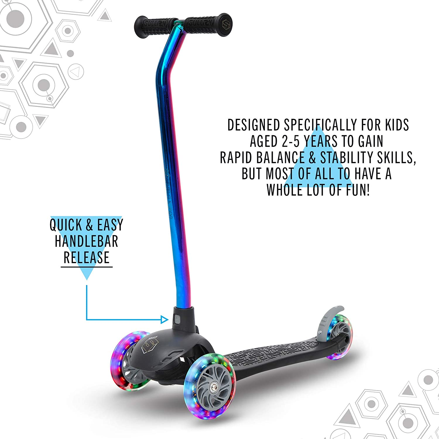 Ages 2-5 Years Sullivan Lean N Glide Tri Scooter Light up Wheels
