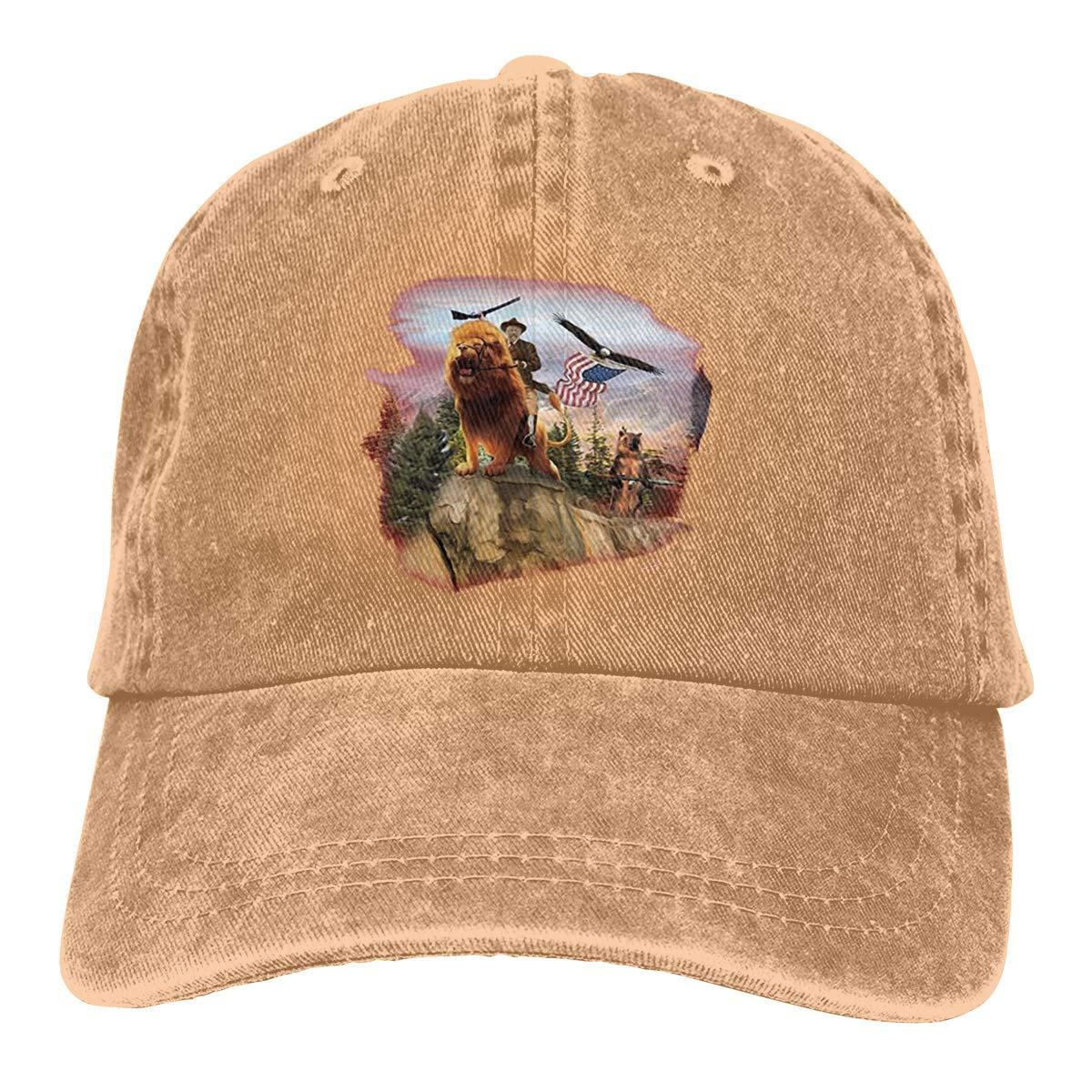 Teddy Roosevelt Riding Lion Cowboy Hat Dad Hats Ball Denim Cap for Mens Womens