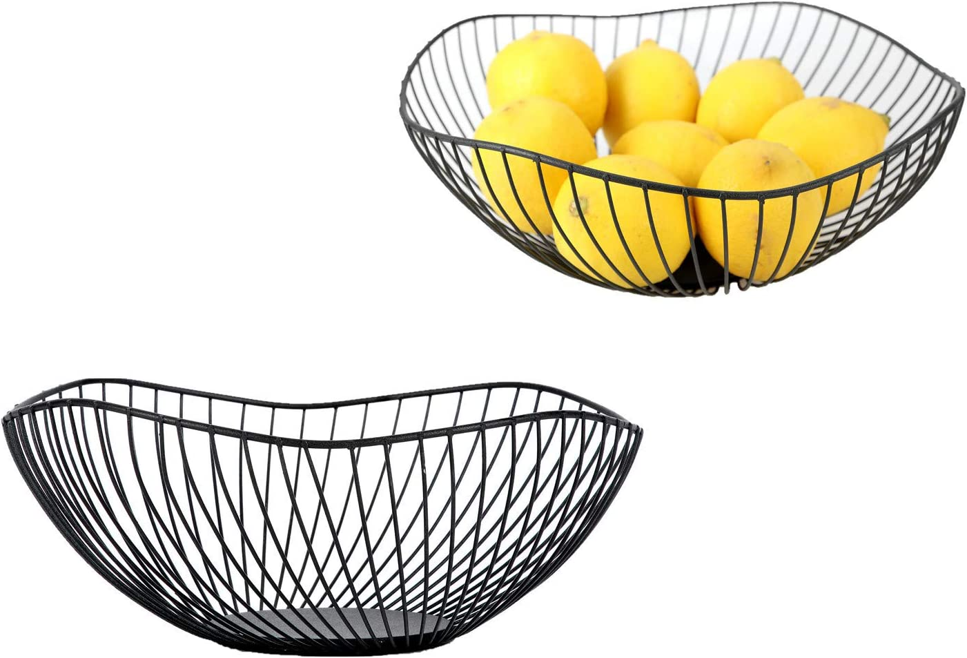 IEEK Black Fruit Bowls for the Counters Large Fruit Basket Bowl Modern Wired Wave Decorative Bowls for Centerpieces Kitchen Vegetables Bowl for Fruit ,Vegetable and Bread Storage,Fruit Bowl Anti Rust