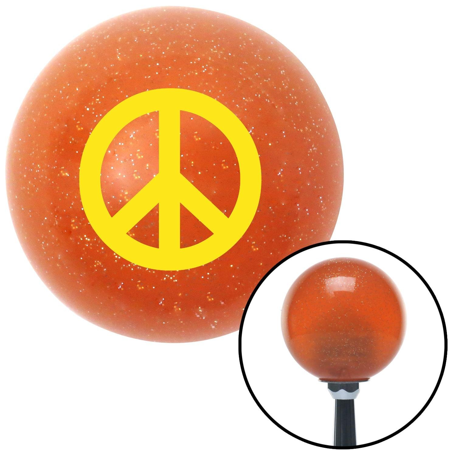 American Shifter 42800 Orange Metal Flake Shift Knob with 16mm x 1.5 Insert Yellow Peace Sign