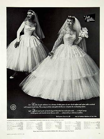 Amazon.com: 1956 Ad Vintage Wedding Gown Dress Bride Lace Veil Arden ...